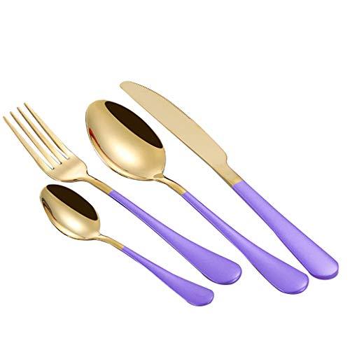 (4PCS Set Stainless Steel Upscale Dinnerware Flatware Cutlery Fork Spoon Teaspoon with Spoon Fork Knife by Shmei (Purple))