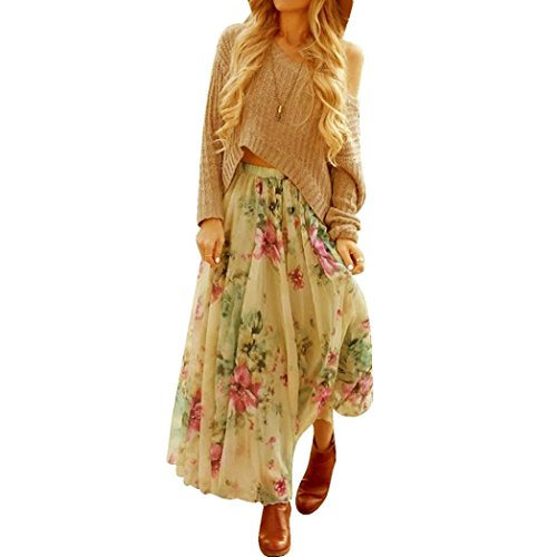 Women's Skirt,Neartime Chiffon Pleated Long Maxi Boho Dress Elastic Waist Skirts (XL)