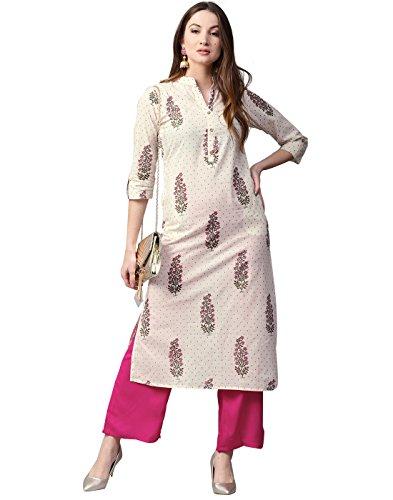 Jaipur Kurti Women Off-White & Pink Printed Cotton Kurta with - Suits Wear Party Women Salwar For