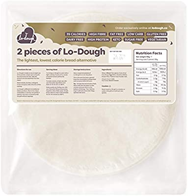 2 Pieces Of Lo Dough The Incredibly Low Calorie Bread Pastry Alternative Only 39 Calories Gluten Free Low Carb Keto Friendly High Fibre