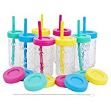 Kids 12oz Glass Mason Jar Drinking Cups with Straw Lids + Leak Proof Regular Lids + Silicone Straws + Cleaning Brush - No Rust, Less Spills for Toddlers & Kids + Food Storage (8 Pack)