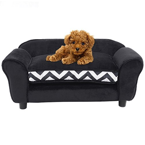30%OFF Pet Sofa Ultra Plush Snuggle Soft Warm Dog Puppy Sleeping Bed w/ Cushion Black