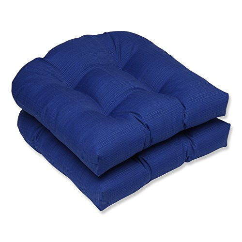 Beautiful Pillow Perfect Indoor/Outdoor Fresco Wicker Seat Cushion, Navy, Set Of 2