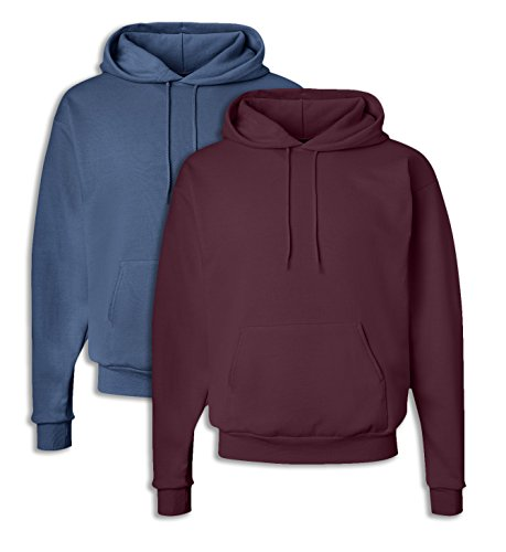 - Hanes P170 Mens EcoSmart Hooded Sweatshirt Large 1 Denim Blue + 1 Maroon