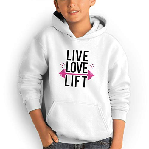 Youth Hoodies Live Love Lift Ggirl%Boy Sweatshirts Pullover with Pocket White 32 by Shenhuakal