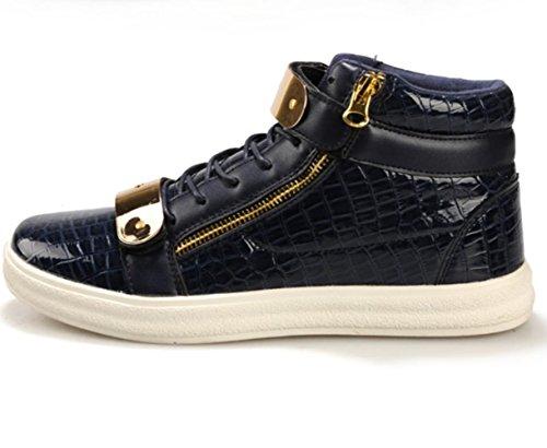 CSDM Uomo Casual Fashion Aiuto Aiuto Piattaforma di metallo Scarpe da tavolo Scarpe da basket Pattini correnti di sport , blue , 44
