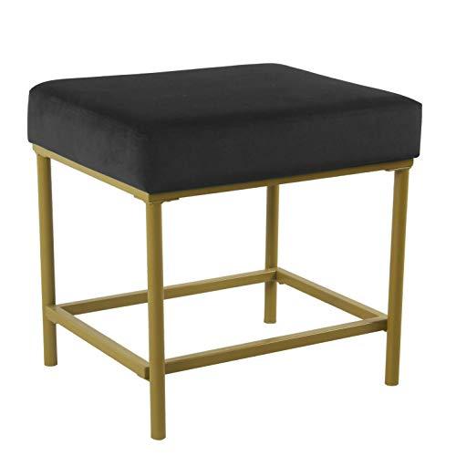 Spatial Order Hudson Modern Velvet Ottoman, Gold Metal Frame, Black