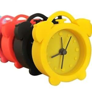 Creative Mini Candy Color Round Face Silicon Digital Alarm Clock --- Color:White