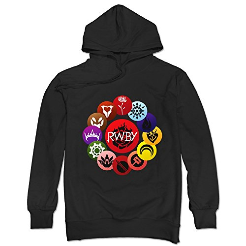 Geek RWBY Crescent Sky Ruby Rose Logo Men's Hoodie Sweater Black Size S