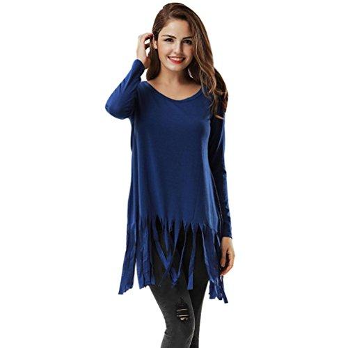 Sunbona Women's Sexy Cotton Tassel Long Sleeve Casual O Neck Loose Blouse T-Shirt Tops (Asian Size:XL, Blue) by Sunbona