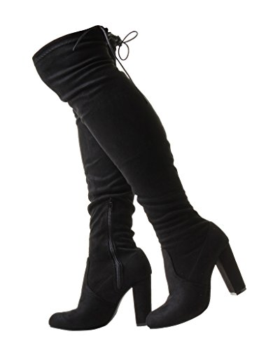 Over Thigh up Boots Shoes Faux Heel Zip Stilleto Ladies Slim Suede Nylon Red Stretch Lycra Calf The Laces Wide Rear High Black Black Knee Sexy zxTvRZqHz