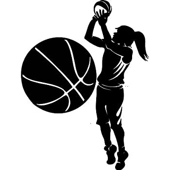 Large Silhouette Vinyl Basketball Wall Decals (Female Player and Ball)  (Black) de12fdab5d