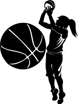 (Large Silhouette Vinyl Basketball Wall Decals (Female Player and Ball) (Black))