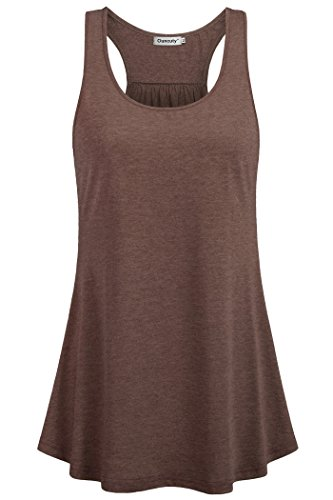 Brown Embellished - Ouncuty Flowy Tank Tops for Women,Scoop Neck Tanks Sport Wear Street Relaxed Fit Casual Racerback Embellished Tunic Tank Plus Size Yoga Tops Activewear Pleated Cool House Wear Althletic Tanks(Brown M)