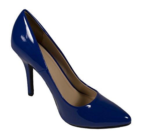 Datum! Kvinna Mode Spetsig Tå Stilett Klänning Pump Blå Patentläder