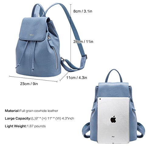 Leather Backpack School Shoulder Genuine 02 for Blue Women Travel Bag Elegant Ladies BOYATU 4qOgaRWa