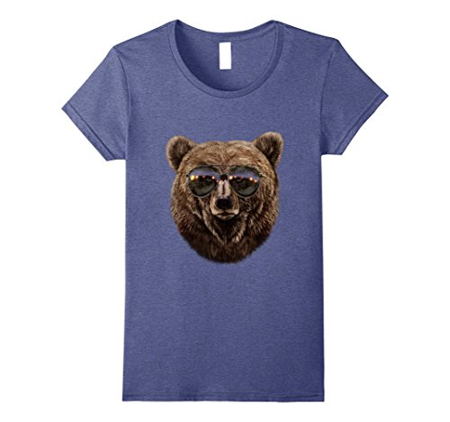 Womens Stern Grizzly Bear in Aviator Sunglass, T-Shirt Small Heather - Sunglasses Aviator Fox