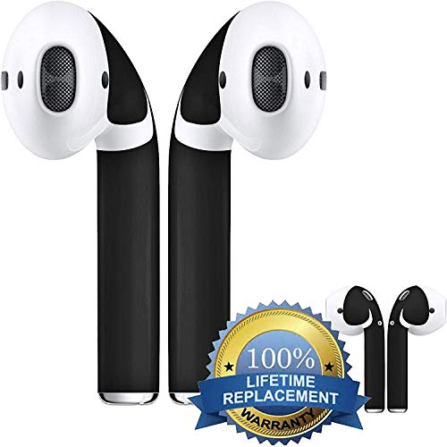 (APSkins Wraps - Compatible with Apple AirPods 2 and 1 Skins for AirPod Wireless Earphones. Updated Model - Lifetime Free Replacements. (Matte Black))
