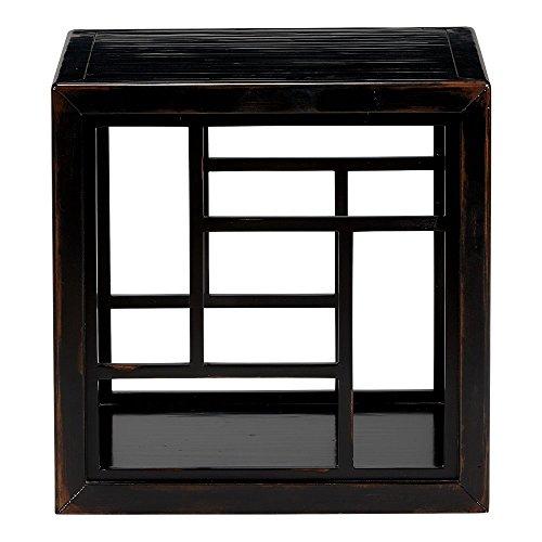 - Ethan Allen Dynasty Fretwork Side Table, Aged Ember