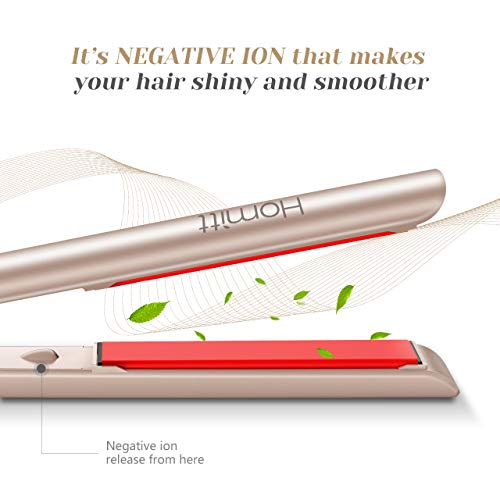 [Upgraded Version] Homitt 2 in 1 Hair Straightener and Curler, Professional Ceramic Flat Iron Dual Voltage Travel Design for All Hair Style with 3D Floating Plates & Adjustable Temperature (250-450F)
