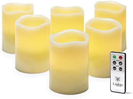 Flameless Pillar Candles with Remote – 3×4 Inch LED Candle, Ivory Wax, Unscented, Melted Edge, Flickering Warm White Light, Batteries Included, Set of 6