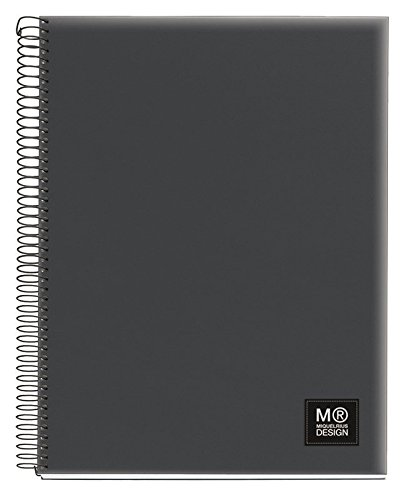 miquelrius-spiral-notebook-5-subject-college-ruled-125-sheets-250-pages-65-x-8-contrast-dark-grey