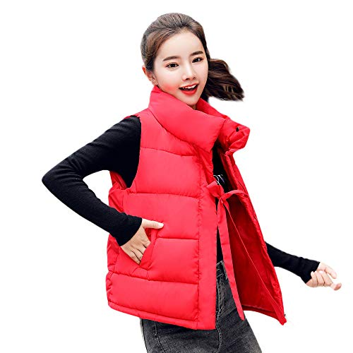 Turtle Sleeveless Cotton Loose Red Girls Plus Pockets Size Lace Solid Autumn Outerwear Womens Jacket Collar Gilet Warm Winter MIRRAY Zipper with Padded Full Thick Waistcoat Casual PxqOzWHOn5