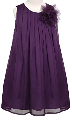 AkiDress Chiffon Rounded Neck Sleeveless Dress for Little Girl Plum 4 (Dress Kids Plum)