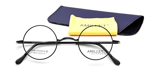 Amillet 42mm Retro Round Titanium Prescription Eyeglass Frames,for Men and Women,Rx-able,0.4 oz - Frames Eyeglasses Female