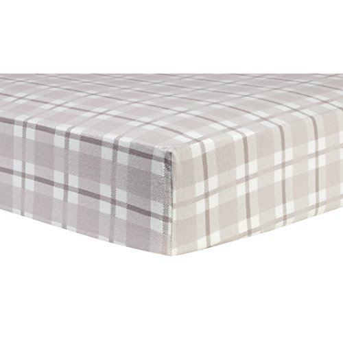 Trend Lab Gray and White Plaid Deluxe Flannel Fitted Crib Sheet ()