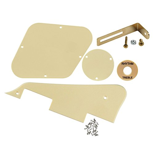 FLEOR 1Ply Cream Guitar Pickguard Scratch Plate Back Plate Guitar Screws Set & Toggle Switch Plate(Cream) & Golden Bracket Fit Gibson Les Paul Pickguard Replacement