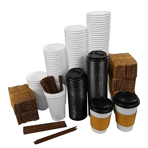 MAKARA 100 Pack 16 oz Disposable Paper Coffee Cups with Lids, Sleeves and Stirring Straws, Insulated Leak Proof Cups Set for Cold/Hot Beverages Drinks Coffee Bar Party (White, 16 oz)
