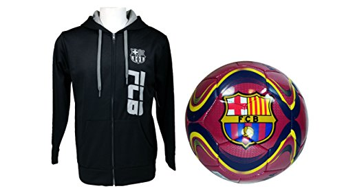 FC Barcelona Official Soccer Hoodie Jacket & Size 5 Ball Combo Adult 13 XL by F.C. Barcelona