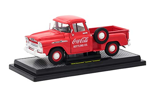 1958 Chevrolet Apache Stepside Pickup Truck Coca-Cola Red Limited Edition to 9,600 Pieces Worldwide 1/24 Diecast Model Car by M2 Machines 50300-RW01 ()