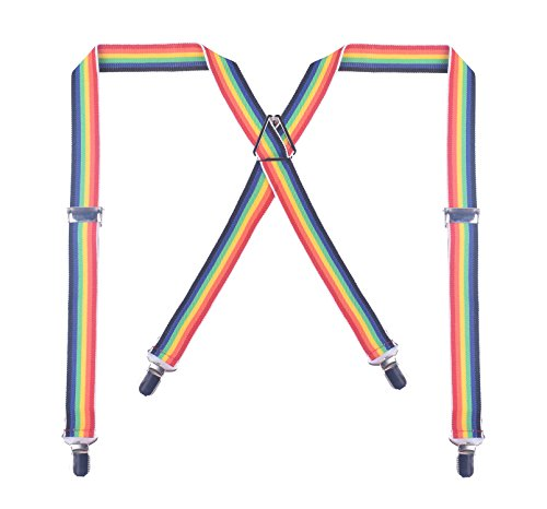 BODY STRENTH X-Shape Suspender for Men with Clips Wide Adjustable Braces Rainbow (Suspenders Rainbow)