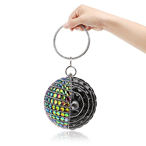 Hungrybubble rotonde del 2 Color della partito frizione Multicolor delle sera 4 della donne di Borsa borsa borse delle PftrPq