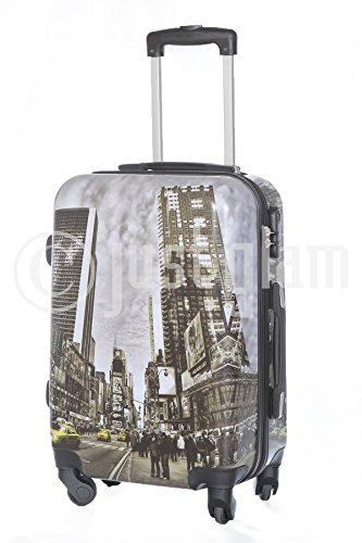 Trolley da cabina 55 cm valigia rigida 4 ruote in abs policarbonato stampato a fantasia antigraffio e impermeabile compatibile voli lowcost come Easyjet Rayanair art Taxi
