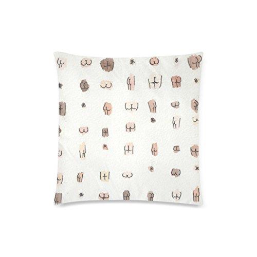 Pillow Cover, Custom Butts Zippered Throw Pillow Cases Throw 18x18 Print