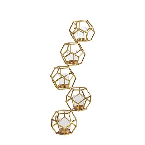 (Danya B. Sparkling Gold Polyhedron Vertical Candle Wall)
