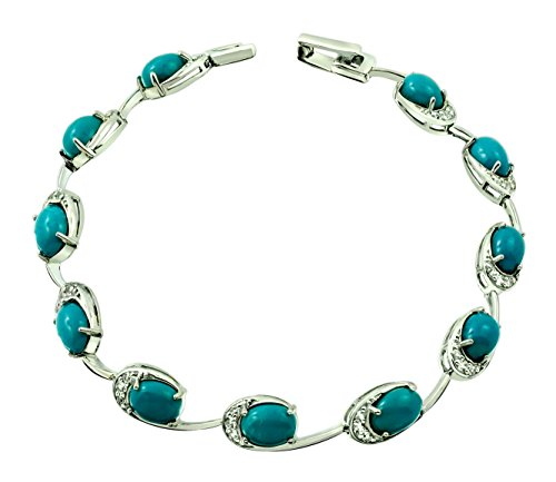 9.67 Carats Natural Turquoise with White Topaz Rhodium-Plated Sterling Silver Bracelet by RB Gems