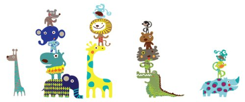 Pop & Lolli Jiving Jungle Pals, Chic Fabric Stickers - 4' Lollipop Sticks