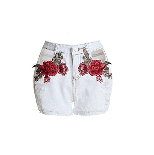 FuweiEncore Pantalon Jeans Femme Pantalon d't Zipper Jeans Taille Haute Jeans Hipster Jean Skinny avec Broderie Fleur, Trous Blanc