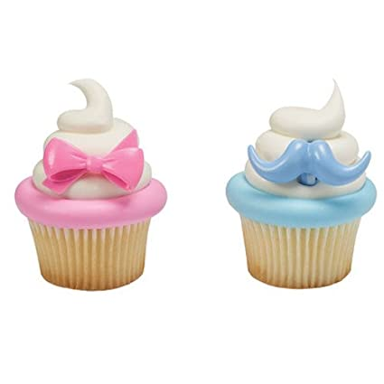 Black Mustache And Pink Bow Cupcake Toppers Gender Reveal Party