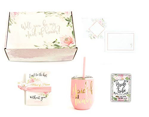 Maid of Honor Wedding Proposal Gift Box Set for Best Friend with Wine Tumbler and Hair Ties (Pink Tumbler)