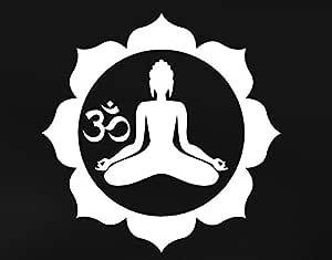 Amazon.com: Yoga postura del loto con OM Símbolo vinilo ...