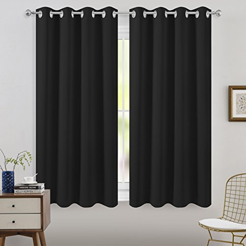 Cheap FLOWEROOM Blackout Curtains Thermal Insulated Draperies With Grommet for Bedroom, Black, 52 x 63 inch, 2 Panels