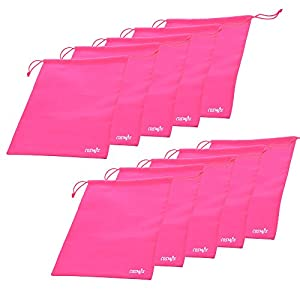 Cosmos ® 10 Pcs Women's Hot Pink Non-Woven Drawstring Shoe Bags for Travel Carrying, 13-3/4 x 11 Inches