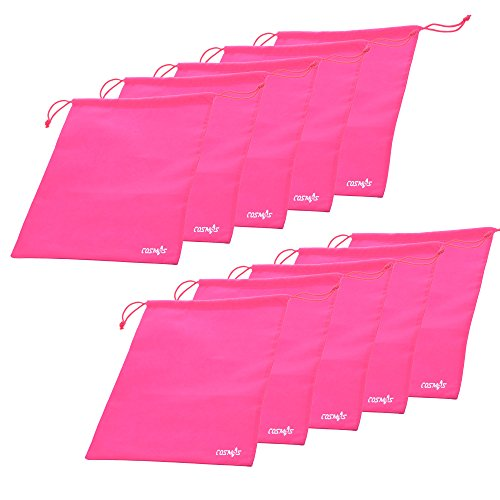 Cosmos ® 10 Pcs Womens Hot Pink Non-Woven Drawstring Shoe Bags for Travel Carrying, 13-3/4 x 11 Inches
