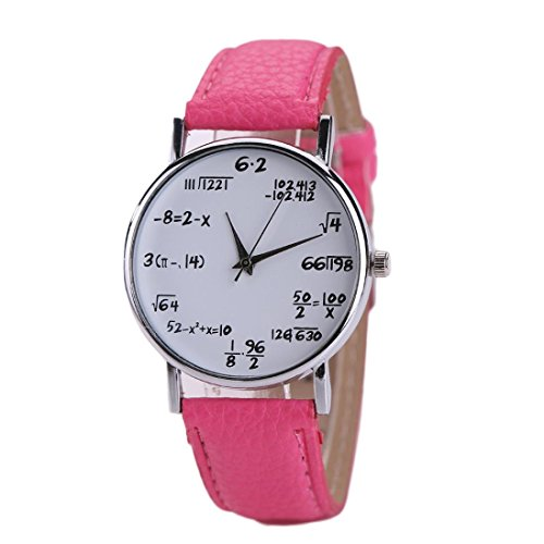 "Price comparison product image Fineshow Kids Boy Girl ""Time Teacher"" PU leather Band Dress White Dial Wrist Watch,Hot Pink"