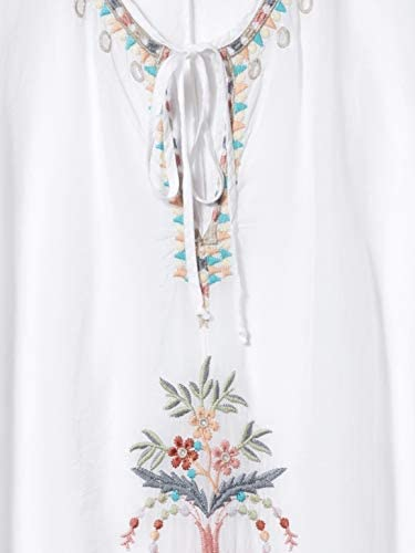 JOHNNY WAS Women's Rayon Blouse with Contrast Embroidery and tie at Neck, White, X-Small